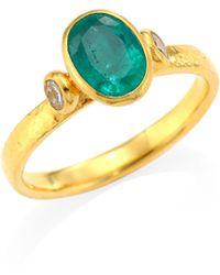 Gurhan - Delicate Hue 22k & 24k Yellow Gold, Emerald & Diamond Ring - Lyst