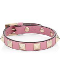 Valentino - Rockstud Leather Bracelet - Lyst
