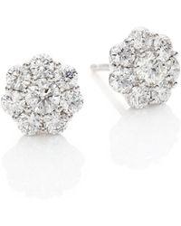 Hearts On Fire - Beloved Diamond & 18k White Gold Stud Earrings - Lyst