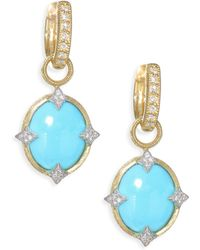 Jude Frances - Small 18k Gold & Diamond Moroccan Turquoise Drop Earring Charms - Yellow Gold - Lyst
