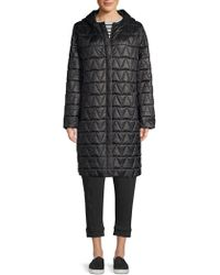 Eileen Fisher - Quilted Hooded Coat - Lyst