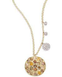 Meira T - White Diamond, Rough Diamond, 14k Yellow Gold & 14k White Gold Pendant Necklace - Lyst
