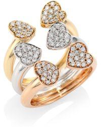 Hueb - Hearts Diamond & 18k Tri-tone Gold Open Ring - Lyst