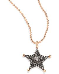 Kismet by Milka - Sherriff Star Champagne Diamond & 14k Rose Gold Pendant Necklace - Lyst