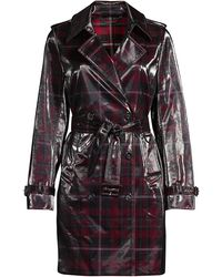 Elie Tahari Natania Laminated Plaid Trench Coat - Black