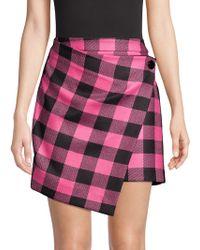 MILLY - Asymmetric Checked Skirt - Lyst