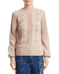59427ac4a94f48 See By Chloé - High-neck Balloon-sleeve Knit Pullover Jumper - Lyst
