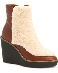 Aquatalia - Violett Shearling & Leather Wedge Booties - Lyst
