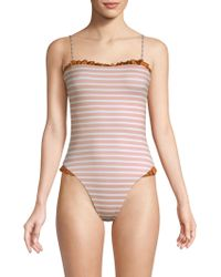 Same Swim - Women's The Pin-up One-piece - Pink Stripe - Size Small - Lyst