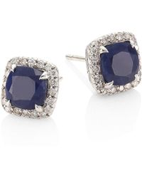 John Hardy - Batu Classic Chain Diamond, Blue Sapphire & Sterling Silver Stud Earrings - Lyst