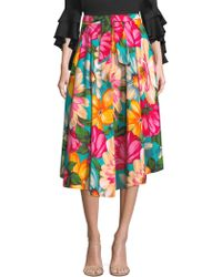 MILLY - Jackie Floral Midi Skirt - Lyst
