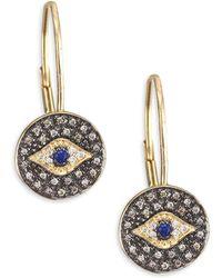 Sydney Evan | Diamond Medallion Eye Drop Earrings | Lyst