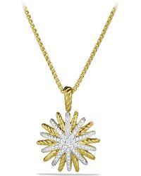 David Yurman - Staburst Small Pendant With Diamonds In Gold On Chain - Lyst