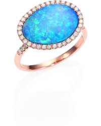 Meira T - Opal, Diamond & 14k Rose Gold Ring - Lyst