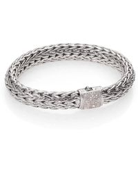John Hardy - Classic Chain Diamond & Sterling Silver Large Bracelet - Lyst