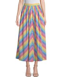 MDS Stripes - Button-front Skirt - Lyst