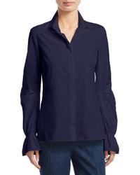 Akris - Bell-sleeve Cotton Poplin Button-down Shirt - Lyst