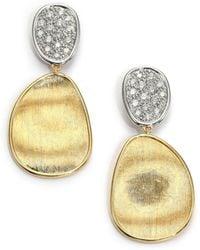 Marco Bicego - Women's Lunaria Diamond & 18k Yellow Gold Small Drop Earrings - Gold - Lyst