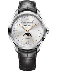 Baume & Mercier | Clifton 10055 Moonphase Stainless Steel & Alligator Strap Watch | Lyst