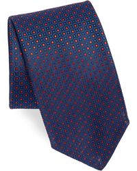 Canali - Men's Square Pattern Silk Tie - Red - Lyst