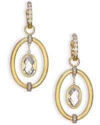 Jude Frances - Classic White Topaz, Diamond & 18k Yellow Gold Oval Link Earring Charms - Lyst