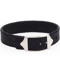 Stinghd - Men's Luxe Pure Silver & Stingray Leather Buckled Bracelet - Black Silver - Lyst