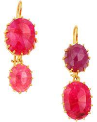 Renee Lewis - 18k Yellow Gold & Natural Ruby Drop Earrings - Lyst