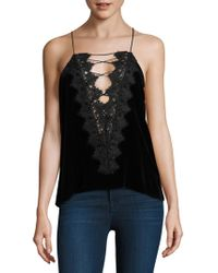 Cami NYC | Charlie Lace-up Velvet Camisole | Lyst