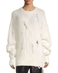 The Kooples - Destroyed Cableknit Sweater - Lyst