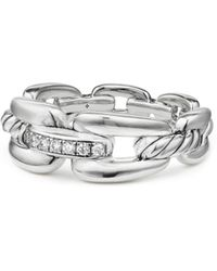 David Yurman - Wellesley Link Pavé Diamonds & Sterling Silver Stax Chain Link Ring - Lyst
