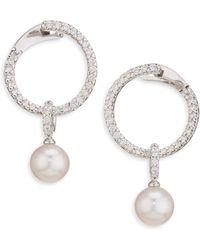 Mikimoto - 18k White Gold, Diamond & Pearl Hoop Earrings - Lyst