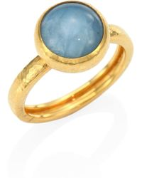 Gurhan - Amulet Hue Aquamarine & 22-24k Yellow Gold Ring - Lyst
