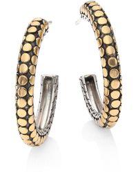 John Hardy - Dot 18k Yellow Gold & Sterling Silver Hoop Earrings/1 - Lyst