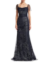Teri Jon - Women's Off-the-shoulder Tulle Mermaid Gown - Navy Silver - Size 18 - Lyst