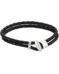 Saks Fifth Avenue - Collection Toggle Braided Leather Bracelet - Lyst