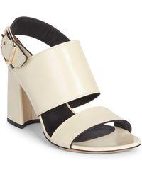 7a8822e5e8a Dries Van Noten Glitter Leather Block Heel Sandals in Orange - Lyst
