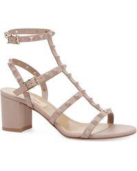 Valentino - Rockstud Block Heel Sandals - Lyst