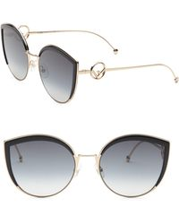 f4caa47ae1a7 Fendi - Women s 58mm Metal Cat Eye Sunglasses - Black - Lyst