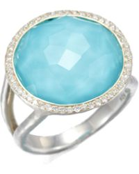 Ippolita - Stella Turquoise, Clear Quartz, Diamond & Sterling Silver Medium Doublet Cocktail Ring - Lyst