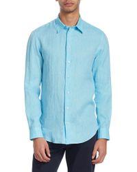 Emporio Armani - Linen Button-down Shirt - Lyst