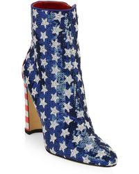 Manolo Blahnik - Nancy Americana Sequin Ankle Boots - Lyst
