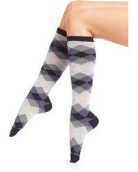 Ilux - Dana Diamond Knee-high Socks - Lyst