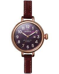 Shinola - Birdy Rose-goldtone Leather Strap Watch - Lyst