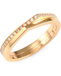 Repossi - Antifer Diamond & 18k Rose Gold Two-row Ring - Lyst