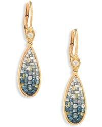 Plevé - Marine Ombre Diamond & 18k Yellow Gold Teardrop Earrings - Lyst