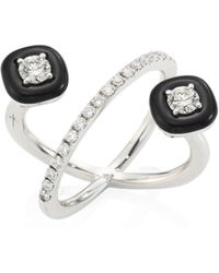 Nikos Koulis - Oui Diamond, Enamel & 18k White Gold Ring - Lyst