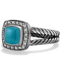 David Yurman - Petite Albion Ring With Turquoise And Diamonds - Lyst
