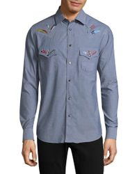 Paul Smith - Embroidered Feather Cotton Button-down Shirt - Lyst