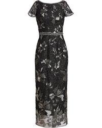 Marchesa notte - Metallic Beaded Evening Dress - Lyst
