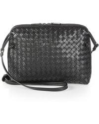 1fcf8e41ce Bottega Veneta - Small Pillow Intrecciato Leather Crossbody Bag - Lyst